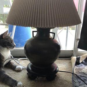 Rare Wildwood Bronze artifact jug on mahogany lamp